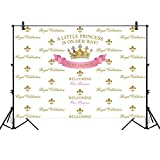 Allenjoy 7x5ft Royal Princess Party Backdrop for Photography 1st First Pink Gold Crown Baby Shower Banner Girl's Kids Birthday Cake Table Decor Home Decoration Photo Booth Background Step and Repeat