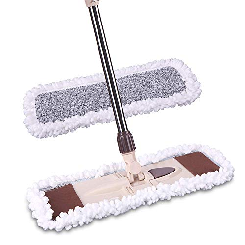 """Price comparison product image Microfiber Dust Mop with Telescopic Handle 56"""",  Hardwood Floor Mop 360°Rotation with 19"""" Wide + 1 Free Microfiber Pads (Upgraded Version)"""