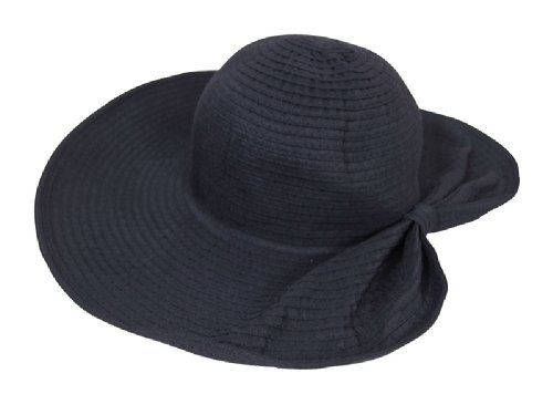 Women's Black Packable Sun Hat With 5 in Wide Brim & Pony Tail Back, Spf 50+