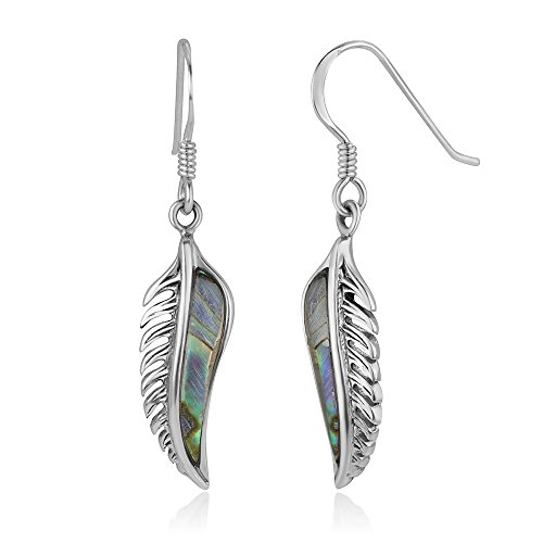 925 Oxidized Sterling Silver Vintage Natural Abalone Feather Dangle Hook Earrings 1.5