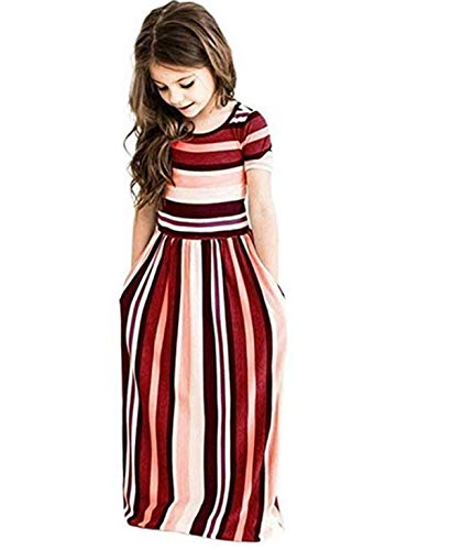 Girl's Summer Short Sleeve Stripe Holiday Dress Maxi Dress with Pocket Size 0-7T,Long Sleeve has Arrived 3-9T!! (Stripe red, -