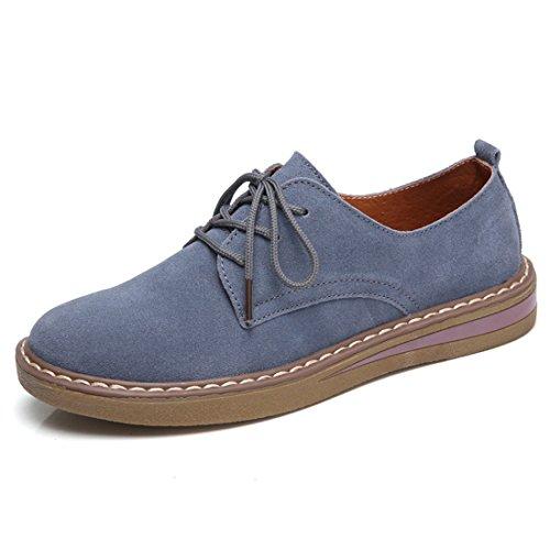 Jiyaru cuero liso mujer Zapatos cordones Azul para de vq8vBxr