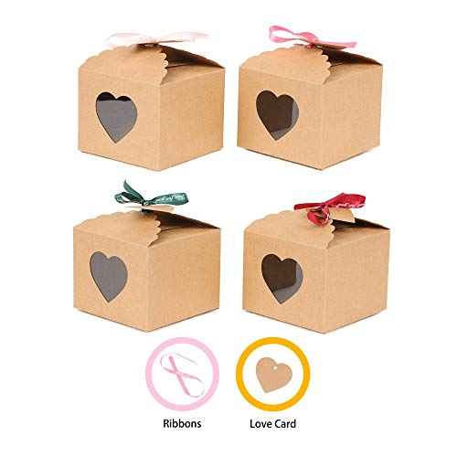 (YuSang Kraft Boxes with Tags and Ribbons for Cake Candy Treat Holiday Party Birthday Homemade Favor 5x5x4 Inch (Pack of 16))