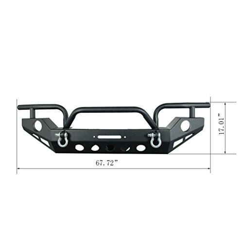 Restyling Factory Jeep Wrangler JK Black Full Width Front Bumper With OE Fog Lights Hole and Winch Plate Jeep
