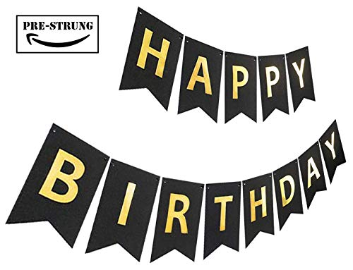 Happy Bday Banners (Black Gold Birthday Banner, Pre-Strung Glitter Bday Party Sign, Sparkle Happy Birthday)