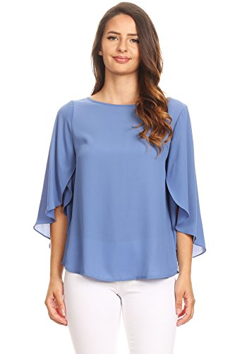 Via Jay Relaxed Comfy Fit 3/4 Open Flutter Sleeve Blouse TOP (Medium, Denim ()
