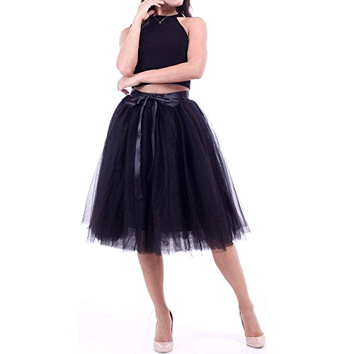 WEISIPU 7 Layer Tulle Elastic Waistband Princess Tutu Skirt Evening Party Gown Prom Knee-length A Line Skirts(Black) by WEISIPU