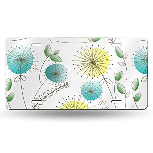Mid Century Dandelion Clocks Aluminum Metal License Plate Cover for US Cars, Auto Tag for Women/Men, 12 x 6 - Camo Dimension Clock Wall