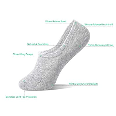 Womens No Show Socks Non Slip Flat Boat Line Low Cut Socks (3-6 Packs) at Women's Clothing store