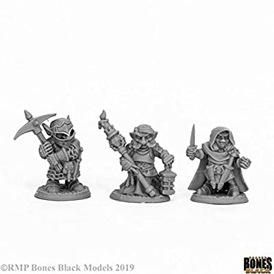 Reaper Miniatures Deep Gnome Warriors (3) #44060 Bones Black Unpainted Plastic: Toys & Games