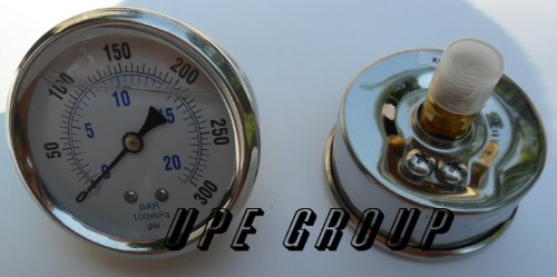 - New Stainless Steel Liquid Filled Pressure Gauge WOG Water Oil Gas 0 to 300 PSI Center Back Mount 0-300 1/4