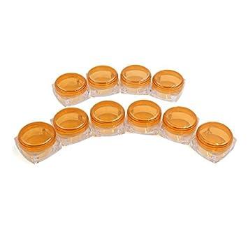 Tarro eDealMax 10 piezas de Naranja viajes de plástico transparente de maquillaje Sombra de ojos Brillo