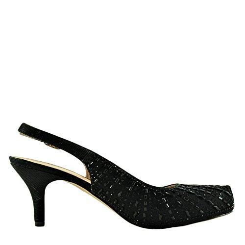 Blossom Roma 14X Womens Crystal Sling-Back Heels Black Shimmer