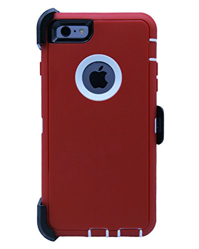 WallSkiN Turtle Series Cases for iPhone 6 Plus/iPhone 6S Plus (Only) Full Body Protection with Kickstand & Holster - Garnet (Red/White)