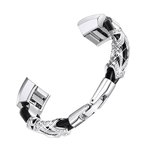 "bayite Leather Bands Compatible with Fitbit Alta and Alta HR, Metal Clasp Leather Cord Wristband with Rhinestone Bling, (Silver with Rhinestone, 6.7"" - 8.1"")"
