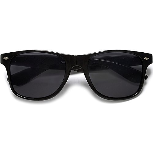Super Dark Lens Classic 80's Black Wayfarer Style Sunglasses (Super - Cheap Wayfarer Sunglasses