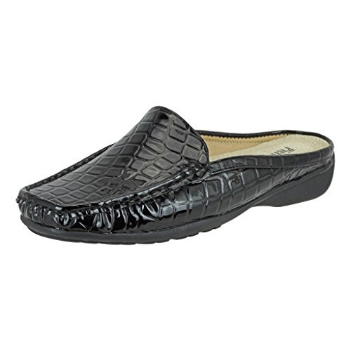 Croco Patent Shoes (Pierre Dumas Women's Hazel-23 Vegan Croco Patent Leather Slip-On Mule,Black Croc,7.5)