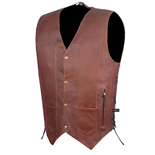 SOA Men's Armor Distress Brown Leather Motorcycle Concealed Gun Carry Vest (Brown Leather Motorcycle Vest)