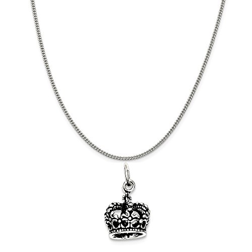 Sterling Silver Antiqued Crown Charm on a Sterling Silver Curb Chain Necklace, 16 in