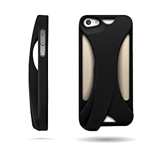 CoverON Acoustic Amplifer TPU Rubber Skin Cover Case for Apple iPhone 5s / 5 - Black