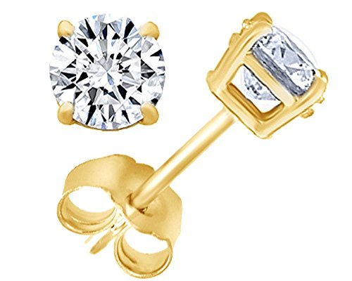 Round Natural Diamond Stud (IGI Certified) Earrings in 14K Solid Yellow Gold, 3/4ct (0.70 Cttw,G-H Color, I2-I3 Clarity)