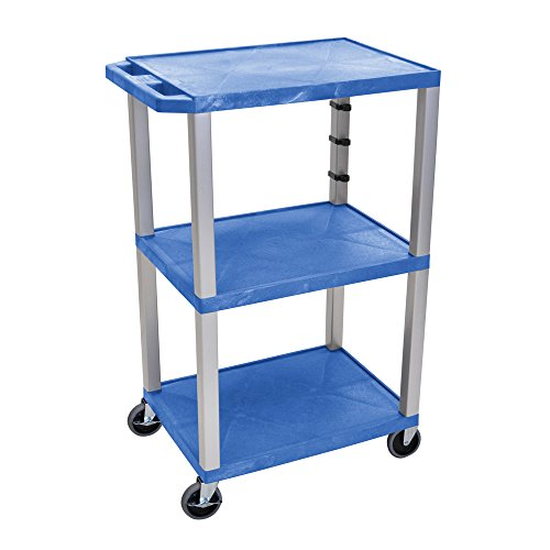 Offex Mobile 42-Inch Tuffy Cart with 3 Storage Shelf, Nickel Legs, Electric, 4-Inch Heavy Duty Casters - Navy (OF-WT42BUE-N)