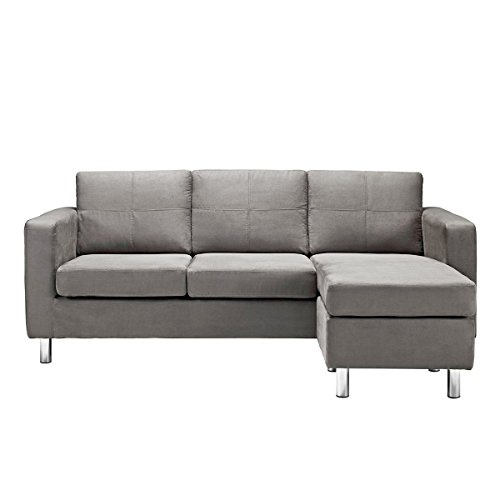 Modern Microfiber Light Grey Small Space Sectional Sofa with Reversible Chaise - Living Room Couch (Light Grey)