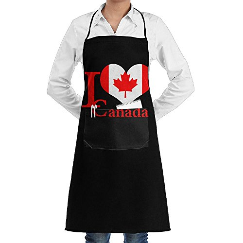 I LOVE Heart CANADA Maple Leaf Cooking Kitchen Aprons With Pockets Bib Apron For Cooking, Baking, Crafting, Gardening, BBQ by AAAAACHEF (Image #1)