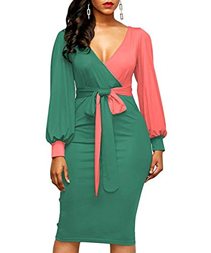 257848b666440 Green Front Bodycon Color Sleeve V Neck Women's Pencil Dress Block with  Belt Long Tie Bandage ...