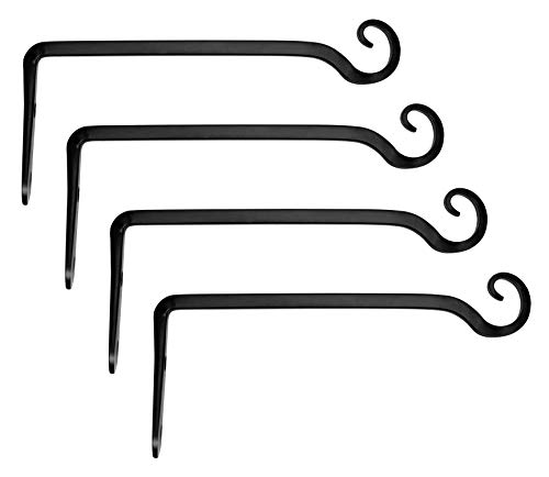 Decorative Outdoor Hanger - Mkono 4 Pack Wall Hook Hanging Plant Bracket Decorative Straight Plant Hanger for Bird Feeders, Planters, Lanterns, Wind Chimes Indoor Outdoor, 10 inch