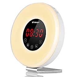Wake Up Light Alarm Clock OTHWAY Sunrise Sunset Simulation Clock, Colorful Light, Natural Sounds, FM Radio, Snooze Function, Touch Control, Easy Setting, Modern Design