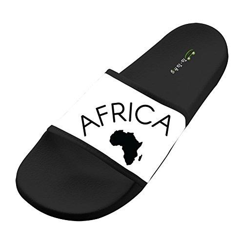 AFRICA Black Wide Upper Soft Slip-On Slide Slippers Beach Flat Slide Sandal for Men Womens by Oyangqu
