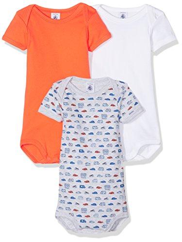 Petit Bateau Baby Boys' 3 Pack Short Sleeve Car Print/Solid Bodysuit, Orange/Multi, 6m (Onesie Petit Print Bateau)