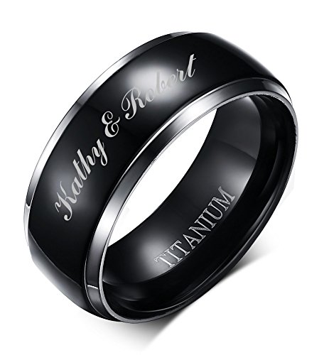 Personalized Wedding Band Ring (Free Engraving Personalized Two-tone Titanium Black Polished Wedding Engagment Ring Bands for Men, 8mm,size 10)