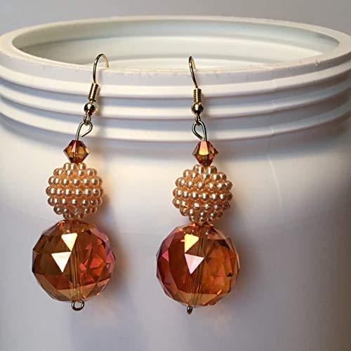 Pearl like and Amber Colored Bead BOHO Dangle Earrings.