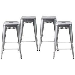 """Buschman Counter High Tolix-Style Metal Bar Stools, Indoor/Outdoor, Stackable, 24"""" H, Grey, Set of 4"""