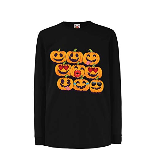 lepni.me Kids T-Shirt Pumpkin Emoji Funny Halloween Party Costume (9-11 Years Black Multi -