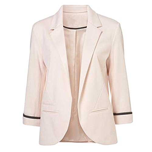 SEBOWEL Women's Fashion Cotton Rolled up 3/4 Sleeve Slim Office Blazer Jacket Suits Pink L -