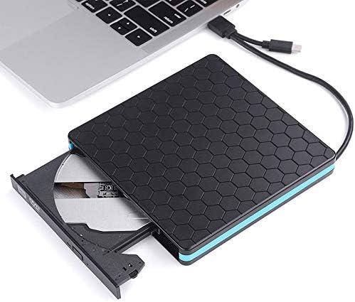 DVDドライブ 2-IN-1タイプC USB 3.0外付けDVD CD VCDバーナーRWドライブSVCDプレーヤーオプティカルドライブのPC CDドライブ (Color : Black, Size : One size)