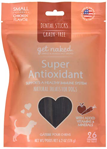 Get Naked Super Antioxidant Dental Chew Sticks For Dogs, Small/6.2-Ounce, 18 Sticks/Pack