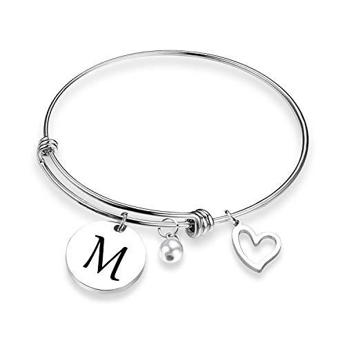 EIGSO Initial Bracelet Letter Bracelet with Heart Charm Memory Bracelet Jewelry Gift for her (BR-M) …