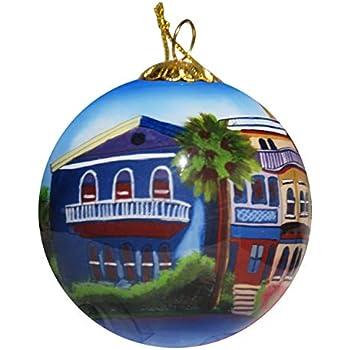e46be5402365 Art Studio Company Hand Painted Glass Christmas Ornament - Rainbow Row  Houses Savannah