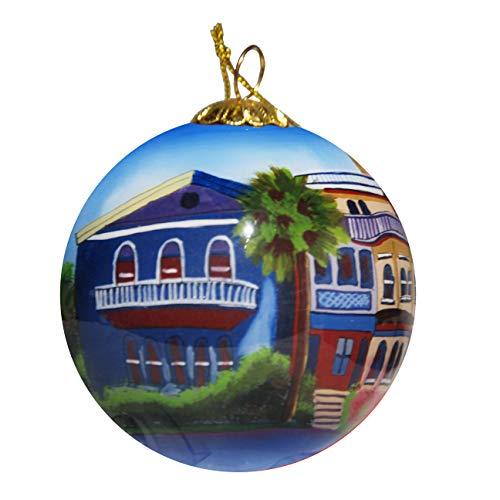 Glass Art Georgia (Art Studio Company Hand Painted Glass Christmas Ornament - Rainbow Row Houses Savannah)