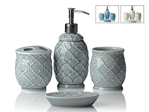 amic Bath Accessory Set | Includes Liquid Soap or Lotion Dispenser w/ Toothbrush Holder, Tumbler, Soap Dish | Moroccan Trellis | Contour Grey (Liquid Soap Set)