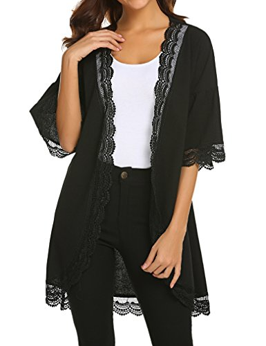 Tobrief Womens 3/4 Ruffle Bell Sleeve Lace Kimono Cardigan Cover Up