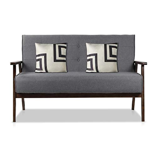 AODAILIHB Modern Fabric Upholstered Wooden 2-Seat Sofa, Sleek Minimalist Loveseat, Sturdy and Durable Double Sofa. Gift 2 Pillowcases -
