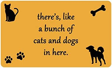 Forever Case there s like a bunch of cats and dogs in here Funny Design Indoor Outdoor Doormat 30 L X18 W inch Non-Slip Machine-washable Home Decor Mat