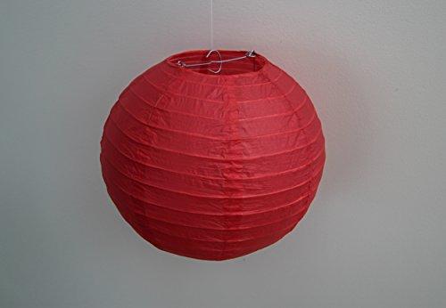 Blue Water Round Paper Lanterns (10 Pack, Red, 10