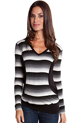 (Olian Mandy Maternity And Nursing Striped Hooded Top - Black/Ivory Stripe - Large)