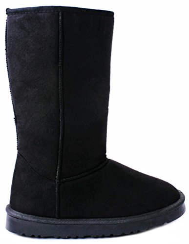 AMY Women House Black Foldable Puff Soft Faux Fur Lined Shearling Mid Calf Winter Snow (Womens Jackie Button Boot)